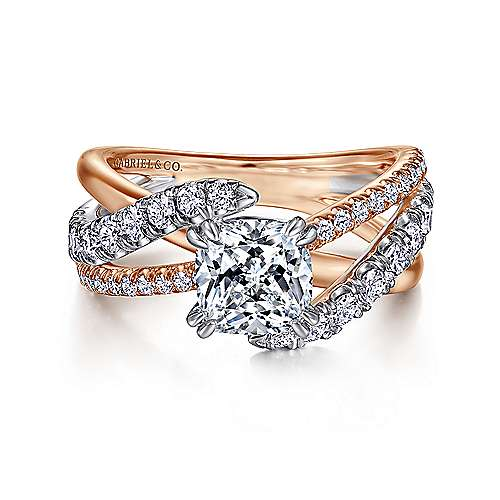 Gabriel - Zaira 14k White And Rose Gold Cushion Cut Free Form Engagement Ring