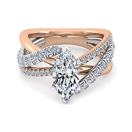 Gabriel - Zaira 14k White And Rose Gold Marquise  Free Form Engagement Ring