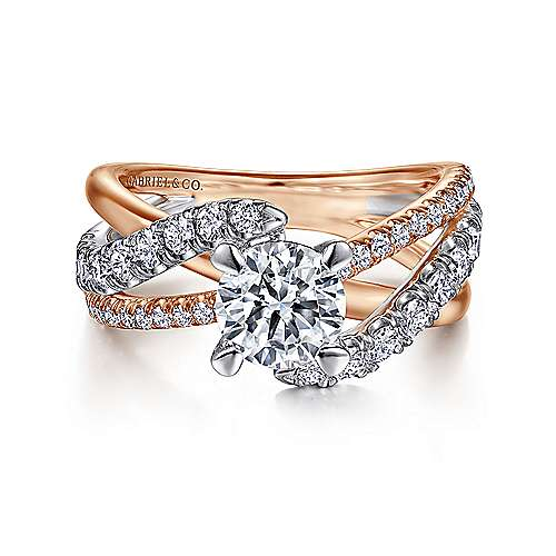 Gabriel - Zaira 14k White And Rose Gold Round Bypass Engagement Ring