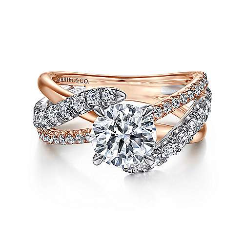 zaira 14k white and rose gold round free form engagement ring angle 1 - Wedding Rings Gold