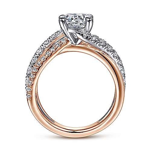 zaira 14k white and rose gold round free form engagement ring angle 2 - Engagement Ring And Wedding Ring
