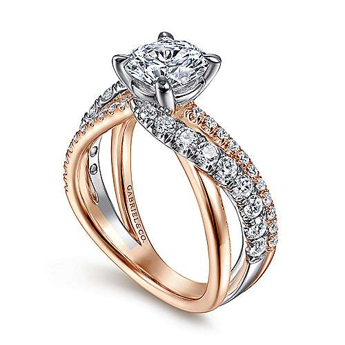 zaira 14k white and rose gold round free form engagement ring angle 3 - Rose Wedding Rings