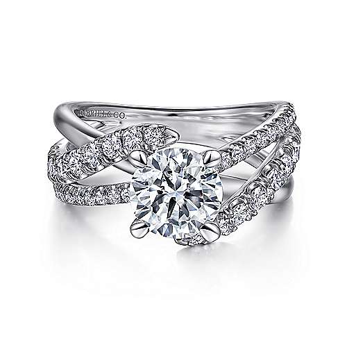 Gabriel - Zaira 14k White Gold Round Free Form Engagement Ring