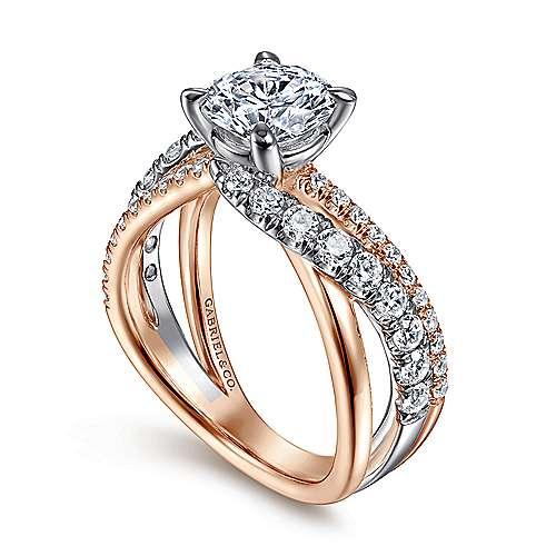 Zaira 14k White/rose Gold Round Free Form Engagement Ring angle 3