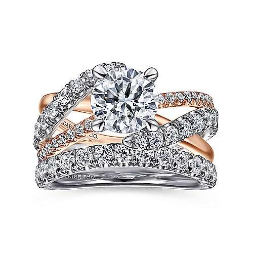 Zaira 14k White/rose Gold Round Free Form Engagement Ring angle 4