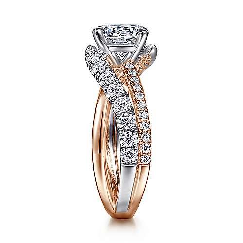 Zaira 14k White/rose Gold Round Free Form Engagement Ring angle 5