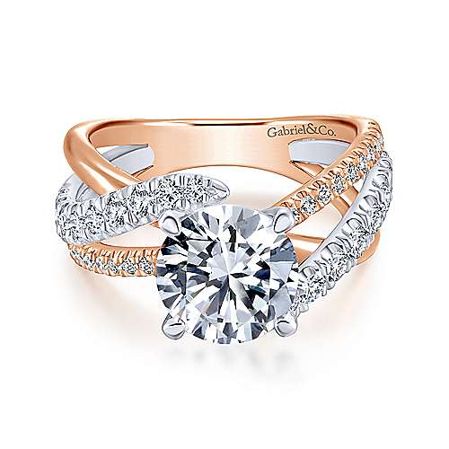 Gabriel - Zaira 18k White And Rose Gold Round Free Form Engagement Ring