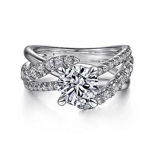 Gabriel - Zaira Platinum Round Free Form Engagement Ring