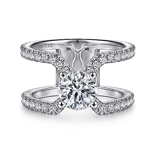 Zandra 14k White Gold Round Split Shank Engagement Ring