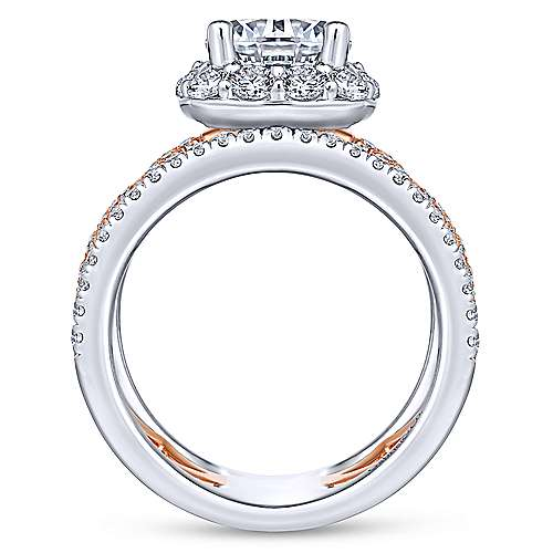Zane 18k White And Rose Gold Round Halo Engagement Ring angle 2