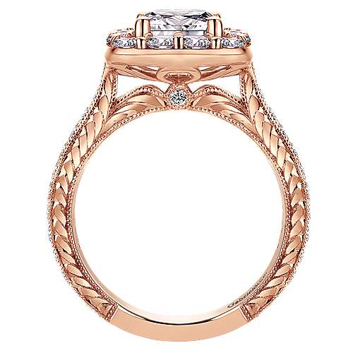 Zelda 14k Pink Gold Cushion Cut Halo Engagement Ring angle 2