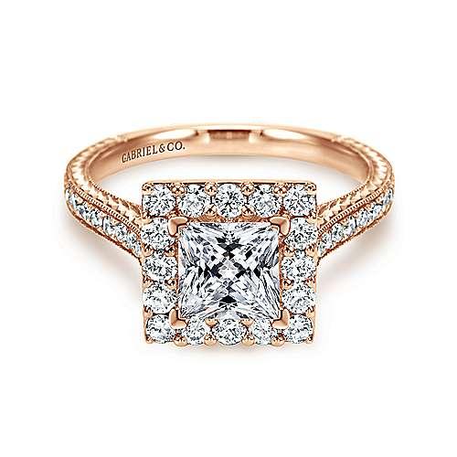 Gabriel - Zelda 14k Pink Gold Princess Cut Halo Engagement Ring
