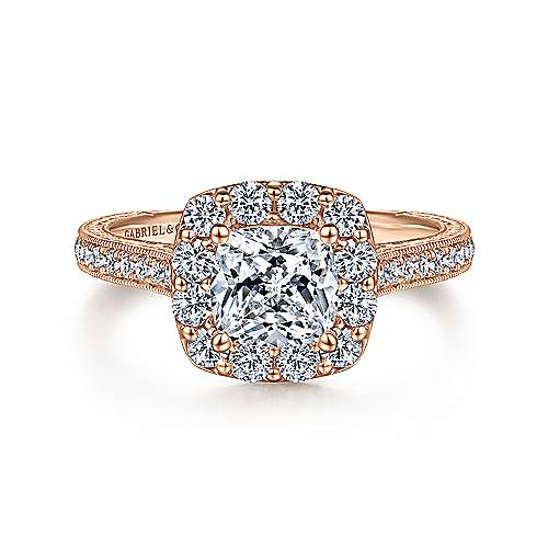 Vintage 14k Rose Gold Cushion Cut Halo