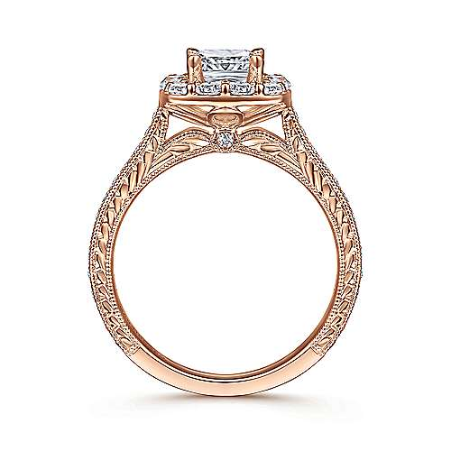 Zelda 14k Rose Gold Cushion Cut Halo Engagement Ring angle 2