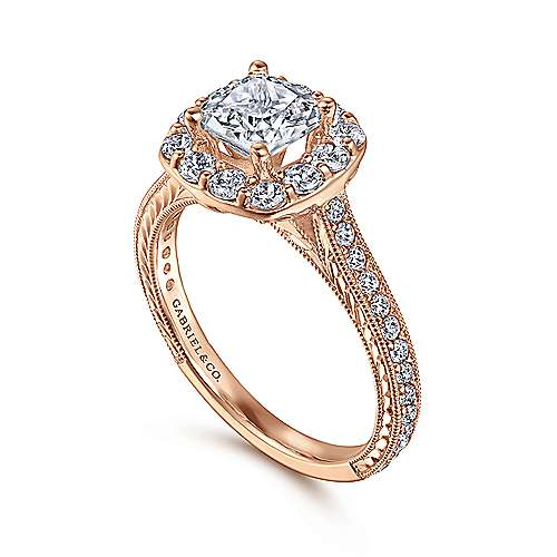 Zelda 14k Rose Gold Cushion Cut Halo Engagement Ring angle 3