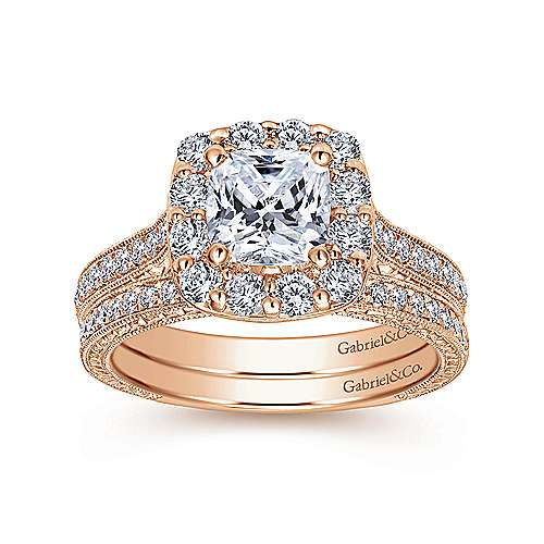 Zelda 14k Rose Gold Cushion Cut Halo Engagement Ring angle 4