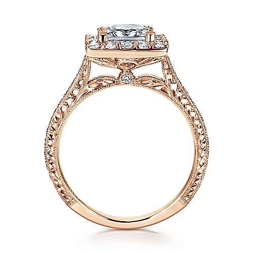 Zelda 14k Rose Gold Princess Cut Halo Engagement Ring angle 2