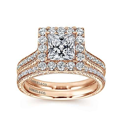 Zelda 14k Rose Gold Princess Cut Halo Engagement Ring angle 4