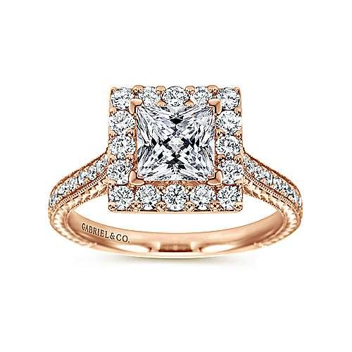 Zelda 14k Rose Gold Princess Cut Halo Engagement Ring angle 5