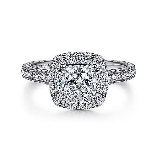 Gabriel - Zelda 14k White Gold Cushion Cut Halo Engagement Ring