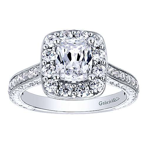 Zelda 14k White Gold Cushion Cut Halo Engagement Ring angle 5