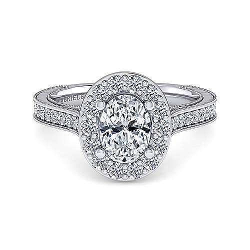 Gabriel - Zelda 14k White Gold Oval Halo Engagement Ring