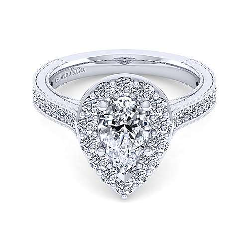 Gabriel - Zelda 14k White Gold Pear Shape Halo Engagement Ring