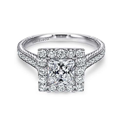 Zelda 14k White Gold Princess Cut Halo Engagement Ring angle 1