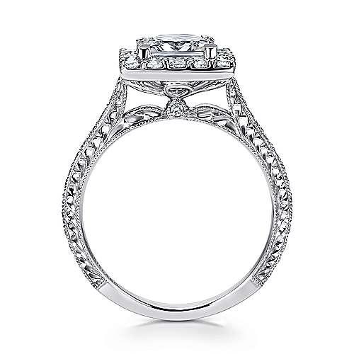 Zelda 14k White Gold Princess Cut Halo Engagement Ring angle 2