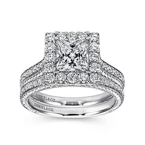 Zelda 14k White Gold Princess Cut Halo Engagement Ring angle 4