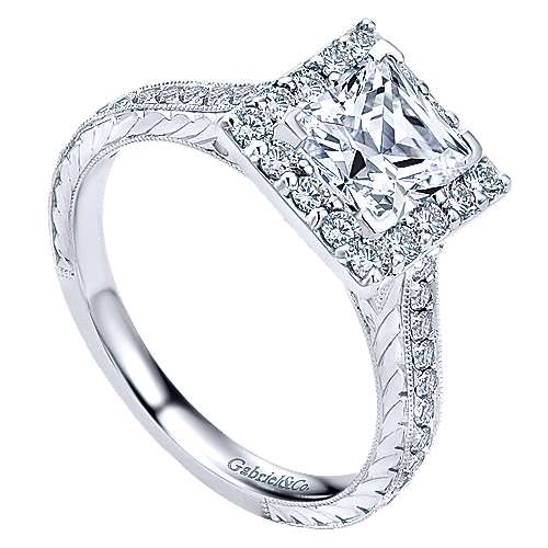Zelda 14k White Gold Princess Cut Halo Engagement Ring