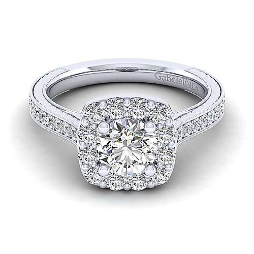 zelda 14k white gold round halo engagement ring angle 1 - Zelda Wedding Ring
