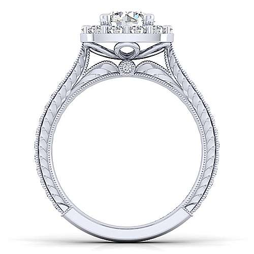 Zelda 14k White Gold Round Halo Engagement Ring angle 2