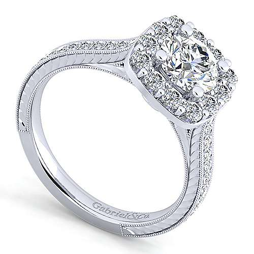 Zelda 14k White Gold Round Halo Engagement Ring angle 3