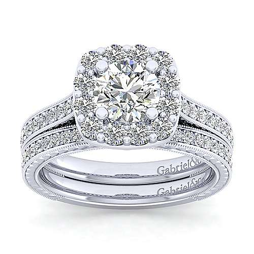 Zelda 14k White Gold Round Halo Engagement Ring angle 4