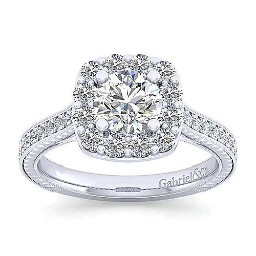 Zelda 14k White Gold Round Halo Engagement Ring angle 5
