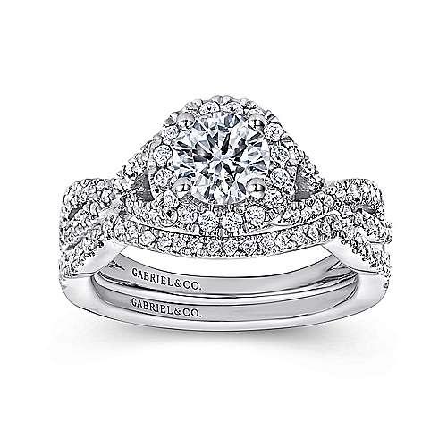 Zelda 14k White Gold Round Halo Engagement Ring angle 4