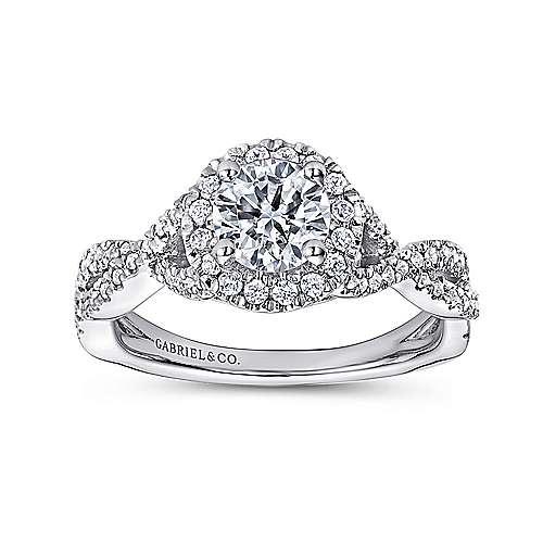 Zelda 14k White Gold Round Halo Engagement Ring angle 5