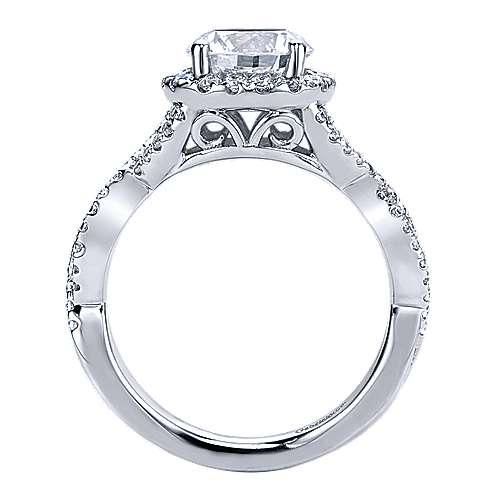 Zelda 14k White Gold Round Halo Engagement Ring angle 2
