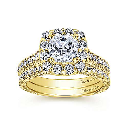 Zelda 14k Yellow Gold Cushion Cut Halo Engagement Ring angle 4