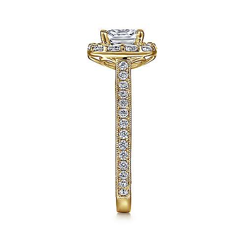 Zelda 14k Yellow Gold Cushion Cut Halo Engagement Ring angle 5