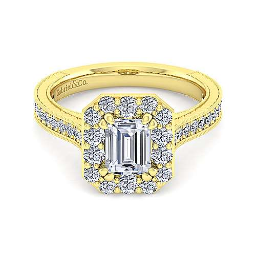 Gabriel - Zelda 14k Yellow Gold Emerald Cut Halo Engagement Ring