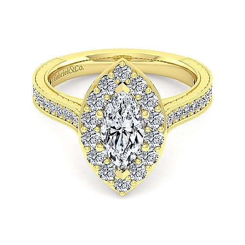 Gabriel - Zelda 14k Yellow Gold Marquise  Halo Engagement Ring