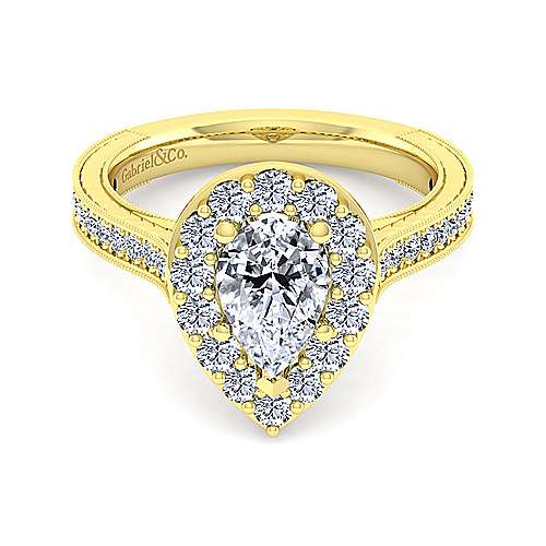 Gabriel - Zelda 14k Yellow Gold Pear Shape Halo Engagement Ring