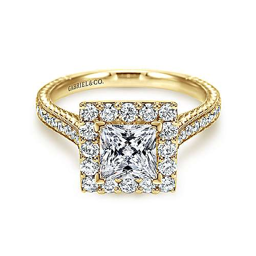 14k Yellow Gold Princess Cut Halo