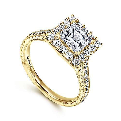 Zelda 14k Yellow Gold Princess Cut Halo Engagement Ring angle 3