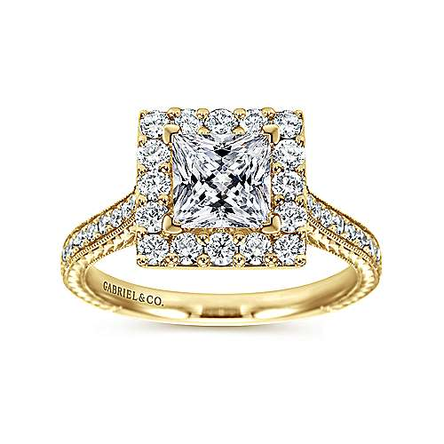 Zelda 14k Yellow Gold Princess Cut Halo Engagement Ring angle 5