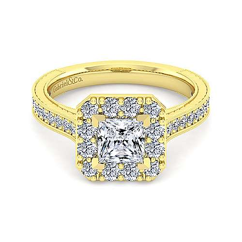 Gabriel - Zelda 14k Yellow Gold Princess Cut Halo Engagement Ring