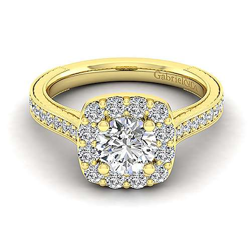 Gabriel - Zelda 14k Yellow Gold Round Halo Engagement Ring