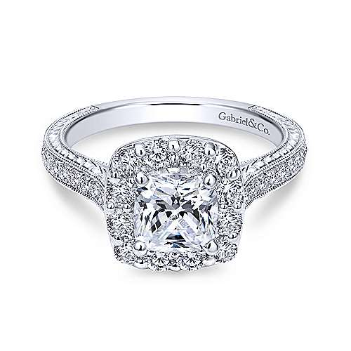 Gabriel - Zelda 18k White Gold Cushion Cut Halo Engagement Ring